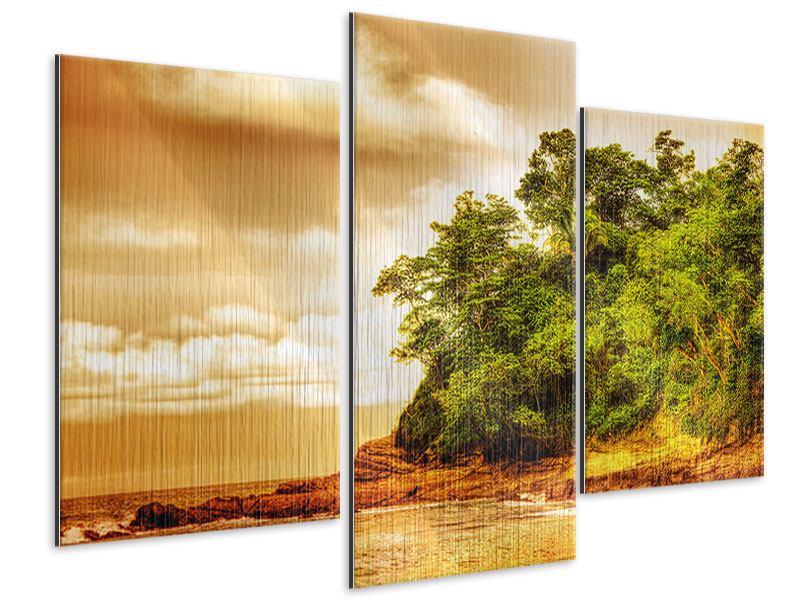 Metallic-Bild 3-teilig modern Sonnenuntergang am Ende des Waldes