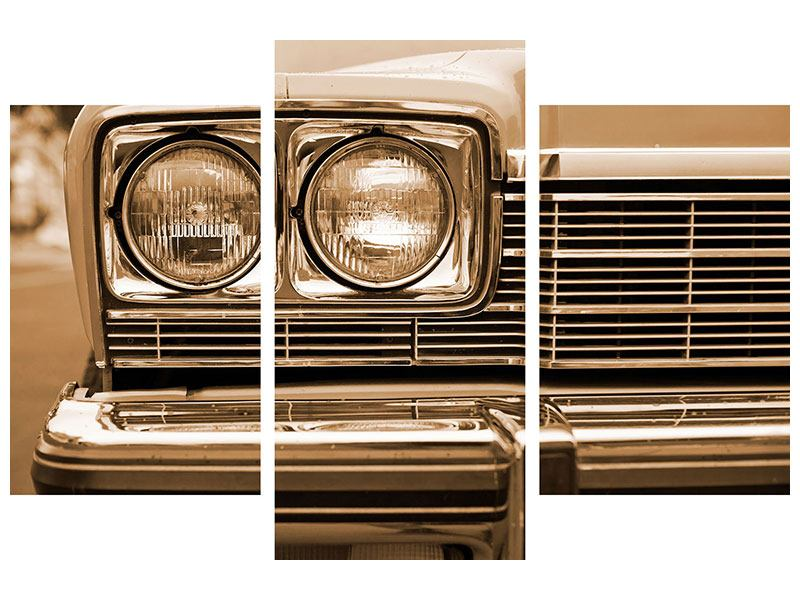 Metallic-Bild 3-teilig modern Oldtimer Close up
