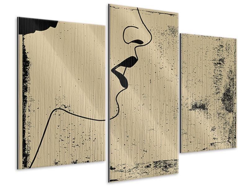 Metallic-Bild 3-teilig modern Frauenportrait im Grungestil