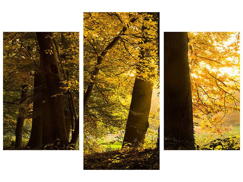Metallic-Bild 3-teilig modern Herbstlaub