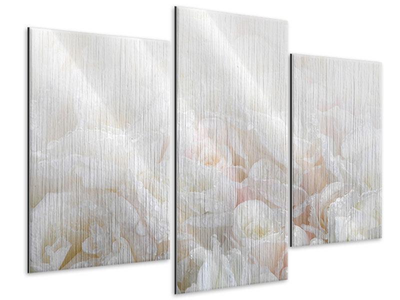 Metallic-Bild 3-teilig modern Weisse Rosen im Morgentau