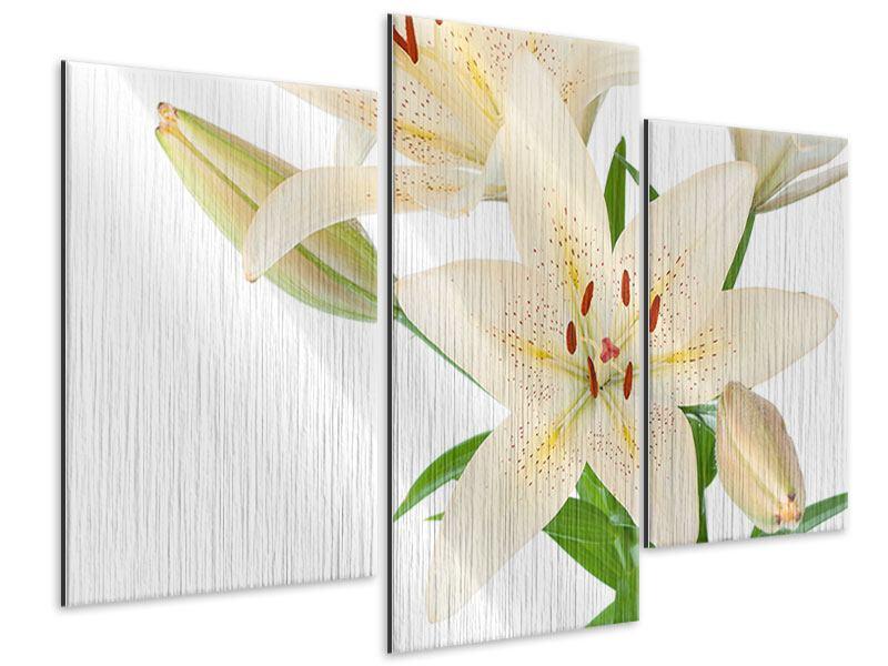 Metallic-Bild 3-teilig modern Weisser Lilienstrauch