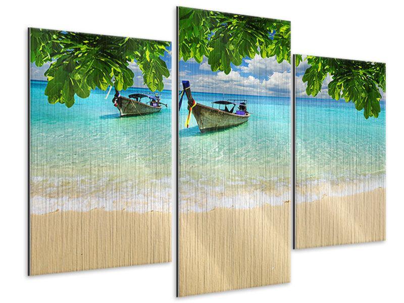 Metallic-Bild 3-teilig modern Ein Blick auf das Meer