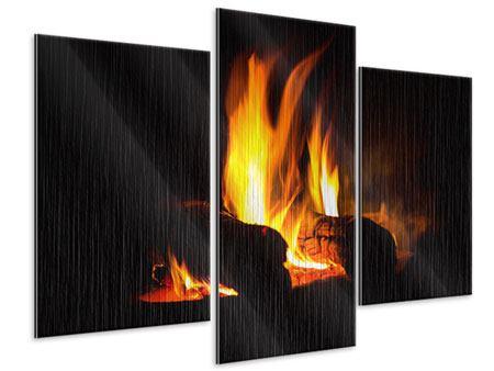 Metallic-Bild 3-teilig modern Der Kamin