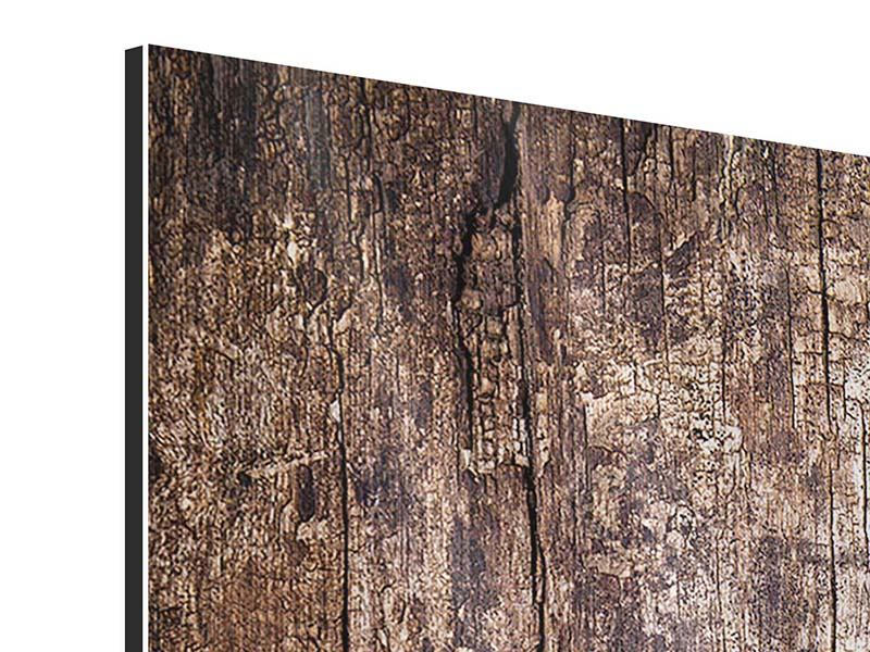 Metallic-Bild 3-teilig modern Retro-Holz