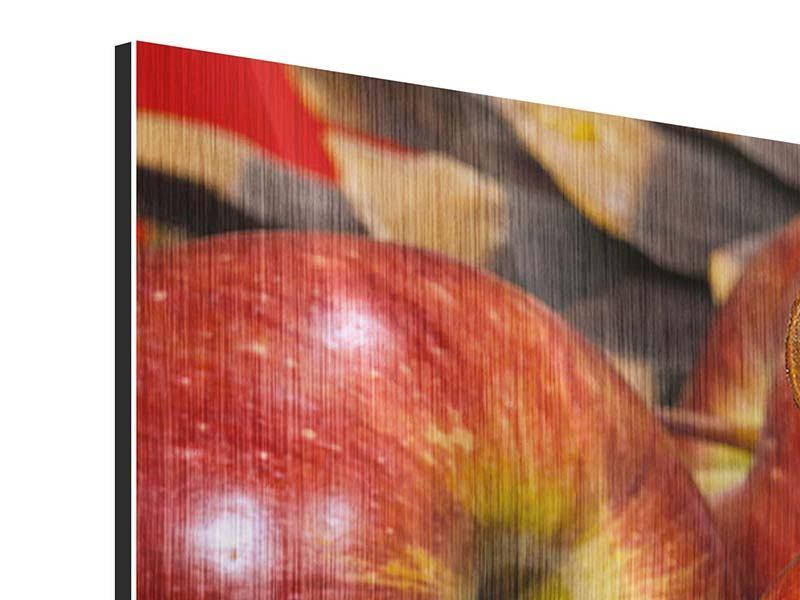 Metallic-Bild 3-teilig modern Äpfel