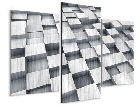 Metallic-Bild 3-teilig modern 3D-Kubus