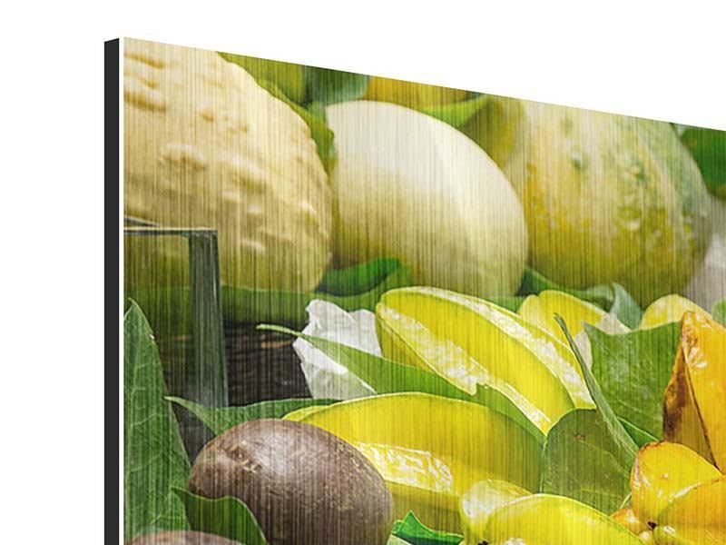 Metallic-Bild 3-teilig modern Früchte
