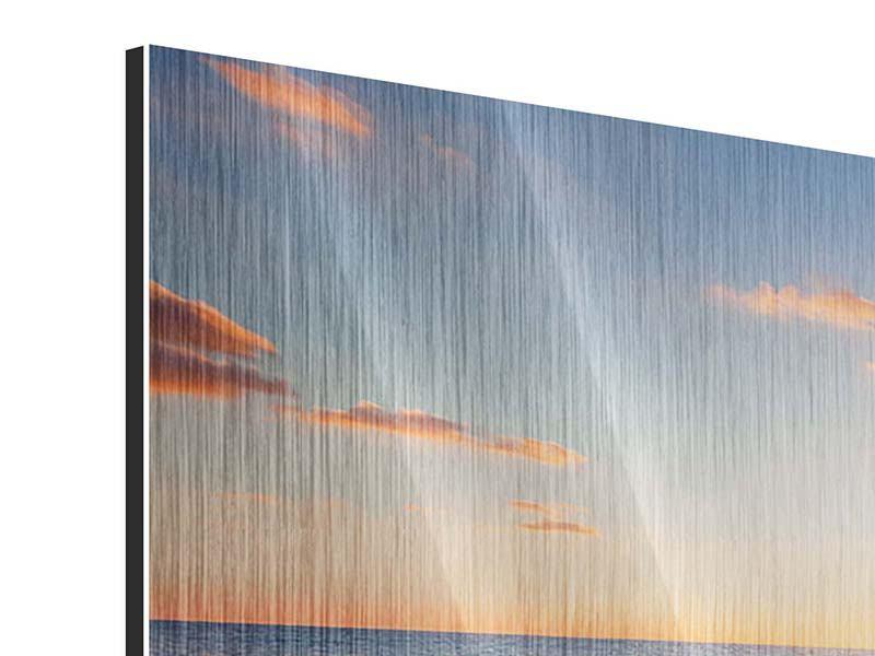 Metallic-Bild 3-teilig modern Sonnenuntergang am Horizont
