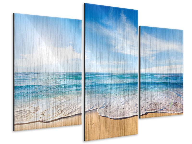 Metallic-Bild 3-teilig modern Spuren im Sand