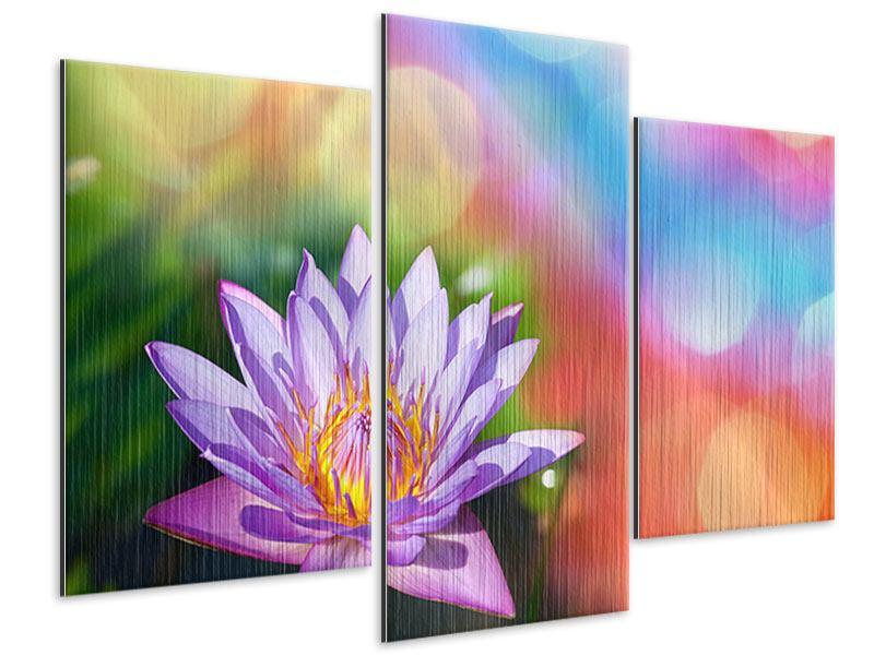 Metallic-Bild 3-teilig modern Colored Lotus