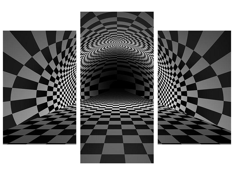 Metallic-Bild 3-teilig modern Abstraktes Schachbrett