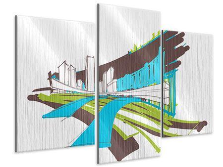 Metallic-Bild 3-teilig modern Graffiti Street-Art