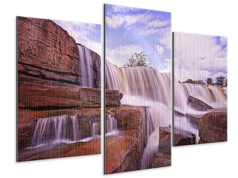 Metallic-Bild 3-teilig modern Himmlischer Wasserfall