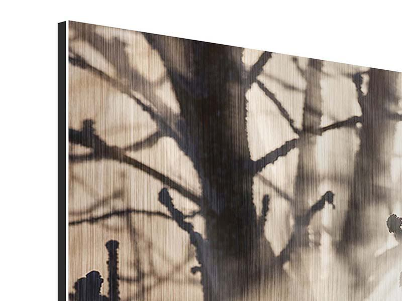 Metallic-Bild 3-teilig modern Äste im Schleierlicht