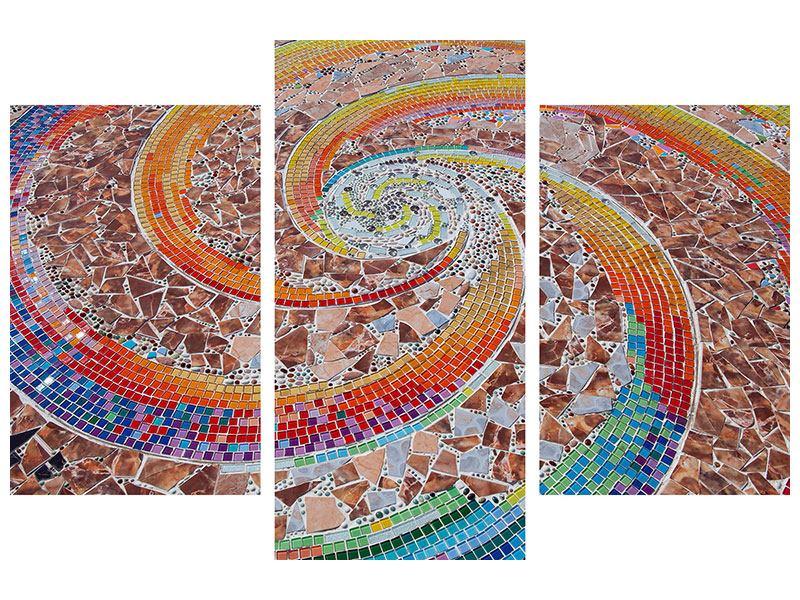 Metallic-Bild 3-teilig modern Mosaik
