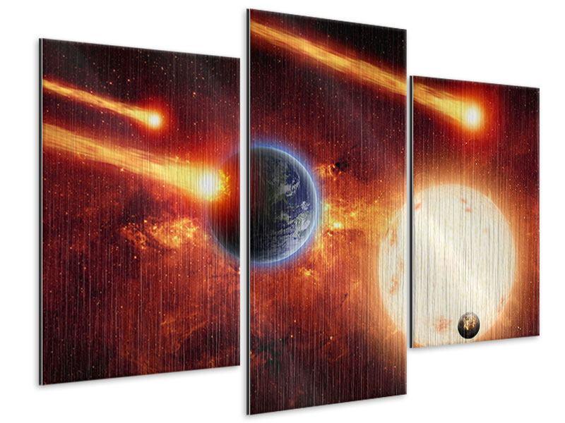 Metallic-Bild 3-teilig modern Der Kosmos