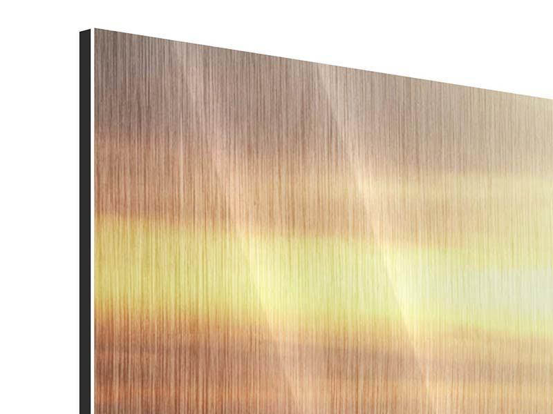 Metallic-Bild 3-teilig modern Sonnenuntergang an der See