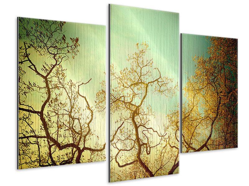 Metallic-Bild 3-teilig modern Bäume im Herbst