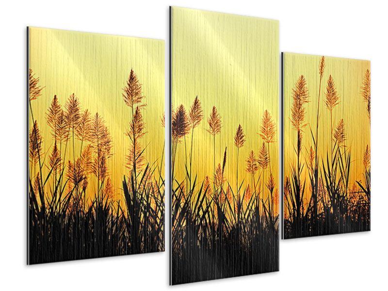 Metallic-Bild 3-teilig modern Die Blumen des Feldes