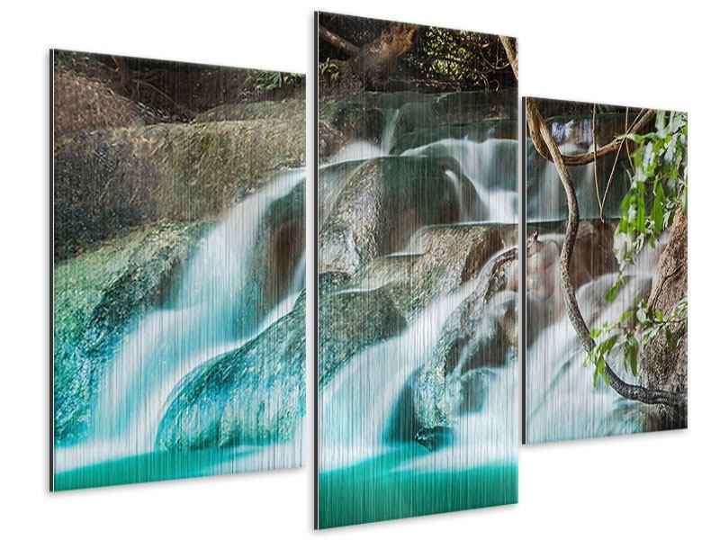 Metallic-Bild 3-teilig modern Am Fluss des Lebens
