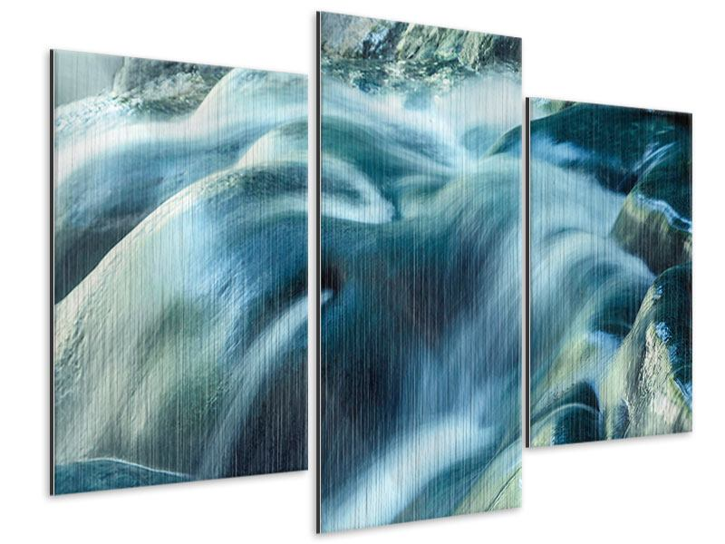 Metallic-Bild 3-teilig modern Das Fliessende Wasser