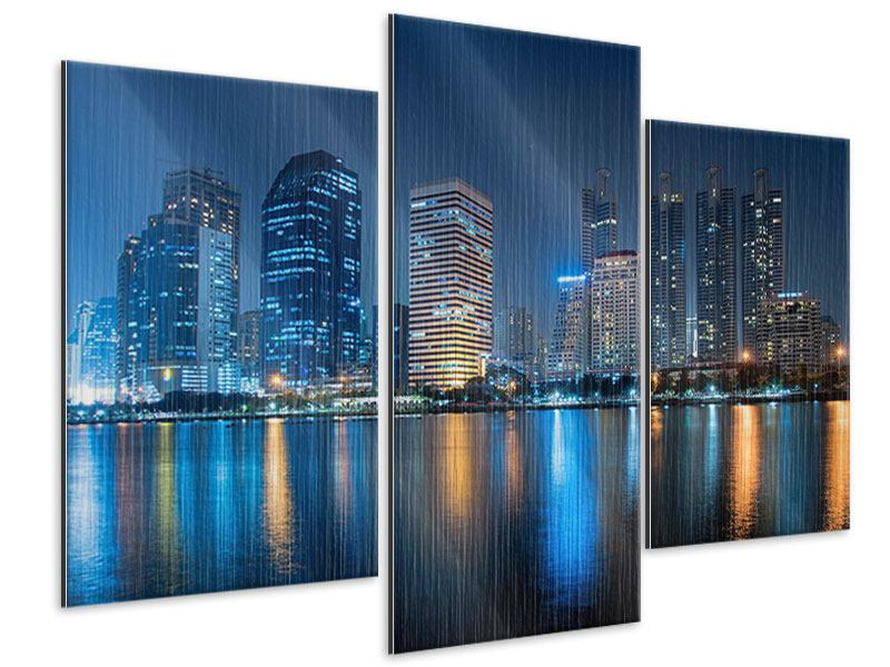 Metallic-Bild 3-teilig modern Skyline Bangkok bei Nacht