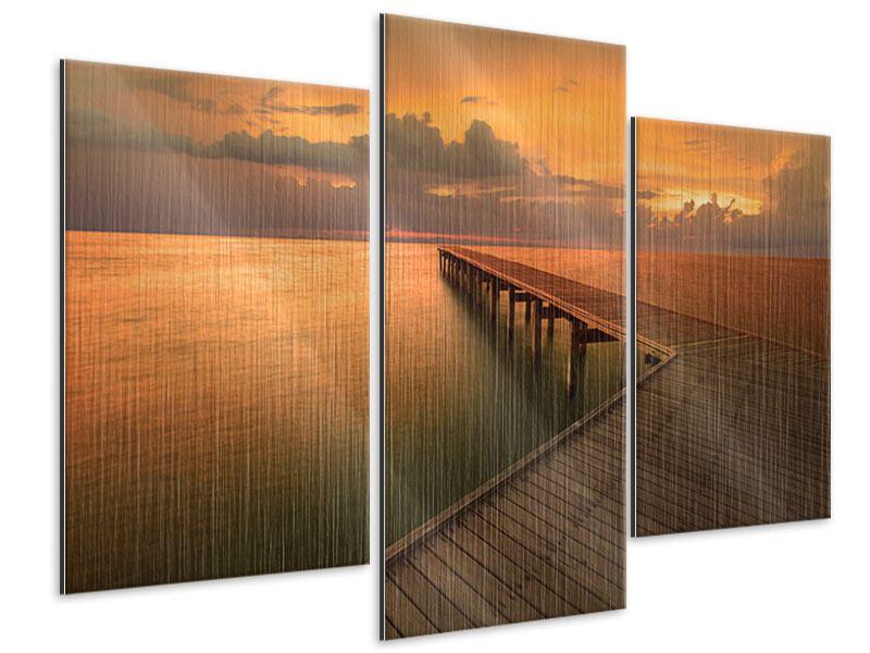 Metallic-Bild 3-teilig modern Der Steg am Meer