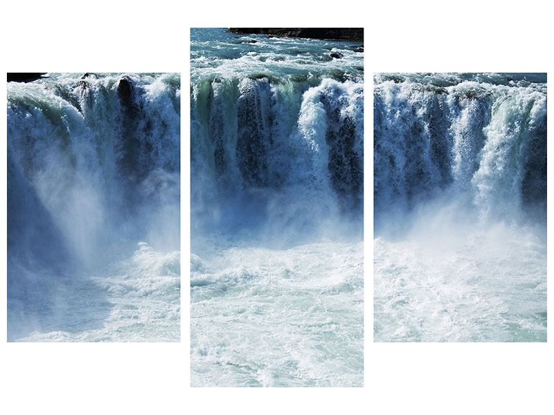 Metallic-Bild 3-teilig modern Mächtiger Wasserfall