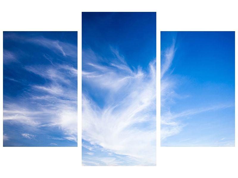 Metallic-Bild 3-teilig modern Schleierwolken