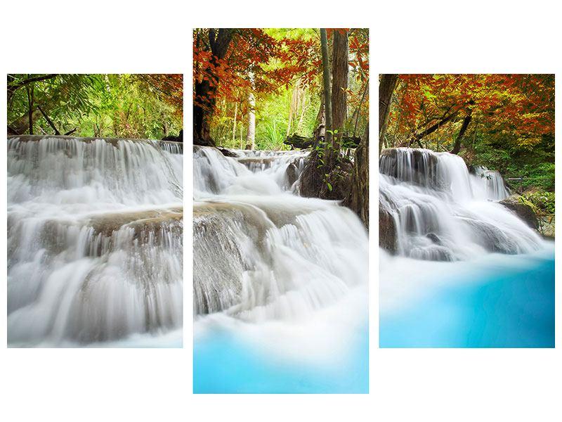 Metallic-Bild 3-teilig modern Erawan Wasserfall