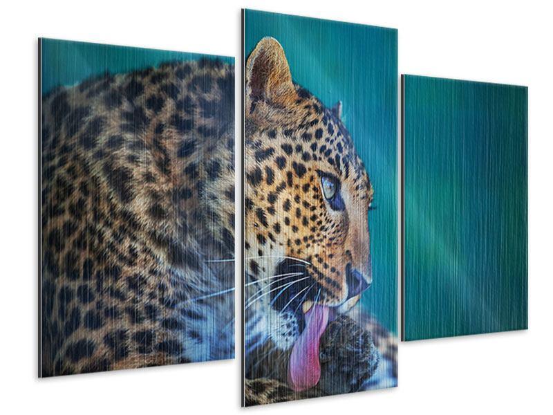 Metallic-Bild 3-teilig modern Leopard XL