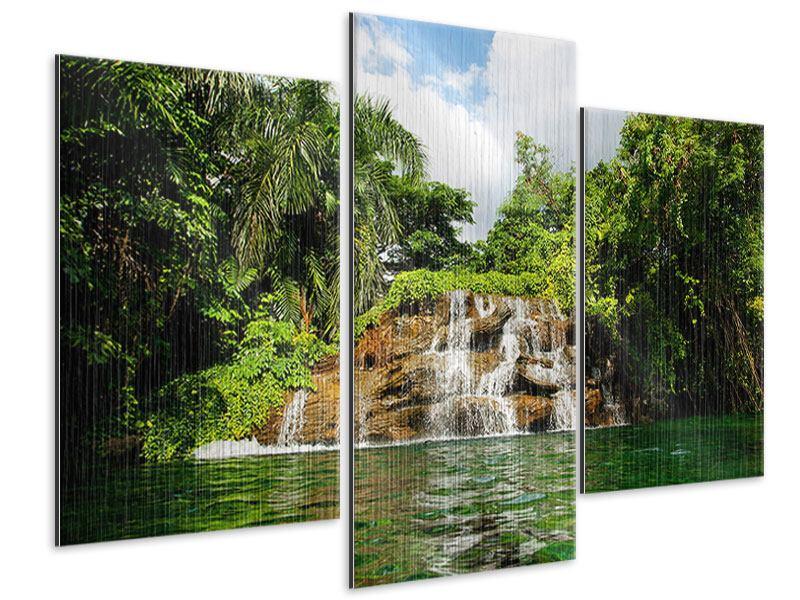 Metallic-Bild 3-teilig modern Lagune