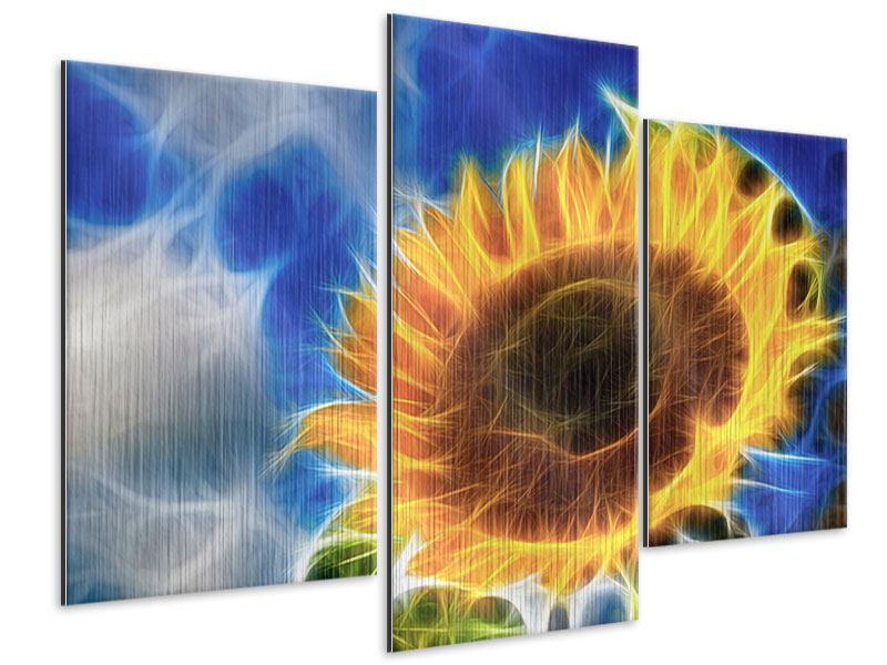 Metallic-Bild 3-teilig modern Der Sonne entgegen