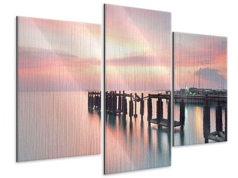Metallic-Bild 3-teilig modern Der beruhigende Sonnenuntergang