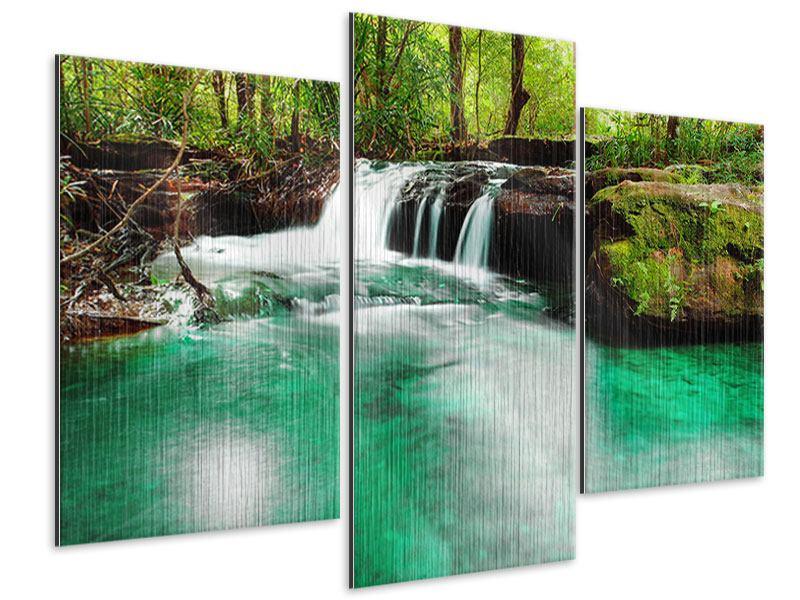 Metallic-Bild 3-teilig modern Der Fluss am Wasserfall