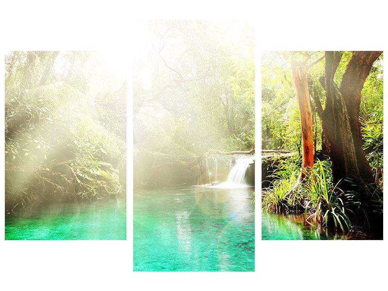 Metallic-Bild 3-teilig modern Die grüne Lagune