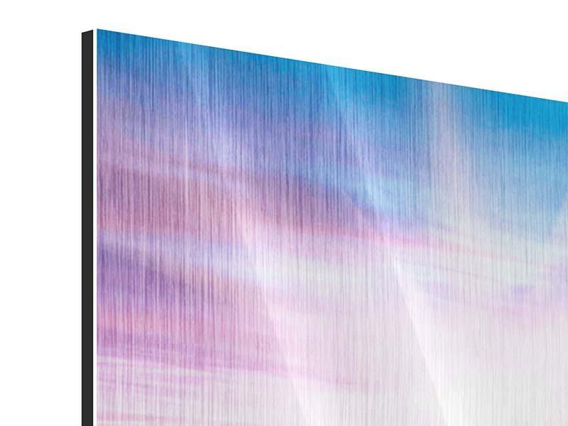 Metallic-Bild 3-teilig modern Eine Sommerlandschaft bei Sonnenaufgang