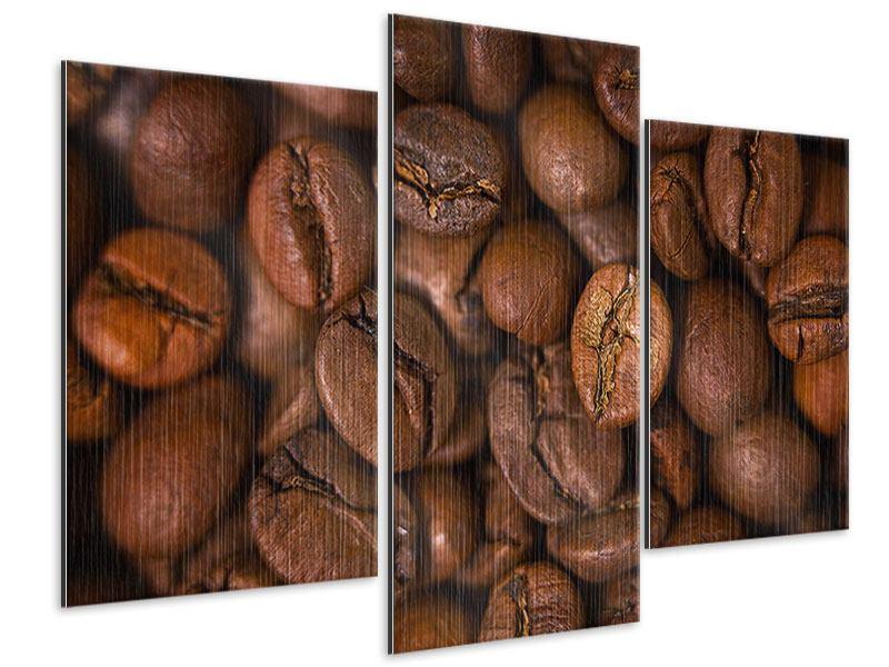 Metallic-Bild 3-teilig modern Close Up Kaffeebohnen