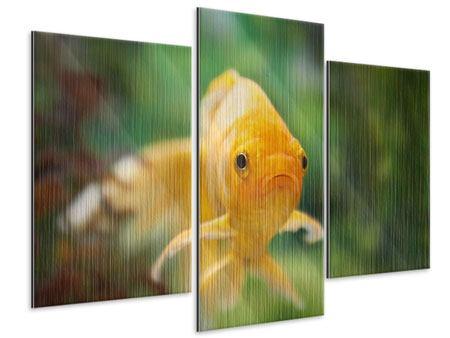 Metallic-Bild 3-teilig modern Der Fisch