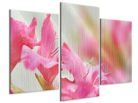 Metallic-Bild 3-teilig modern Gladiolen