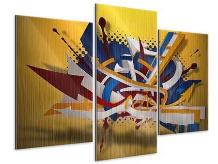 Metallic-Bild 3-teilig modern Graffiti Art