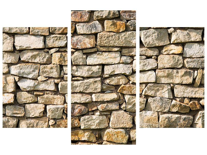 Metallic-Bild 3-teilig modern Natursteine