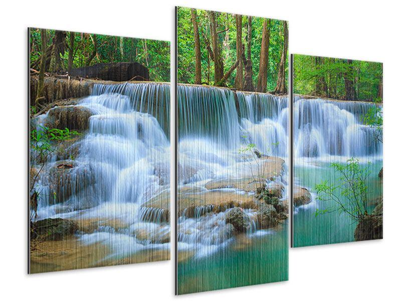 Metallic-Bild 3-teilig modern Kaskaden Huay Mae Khamin