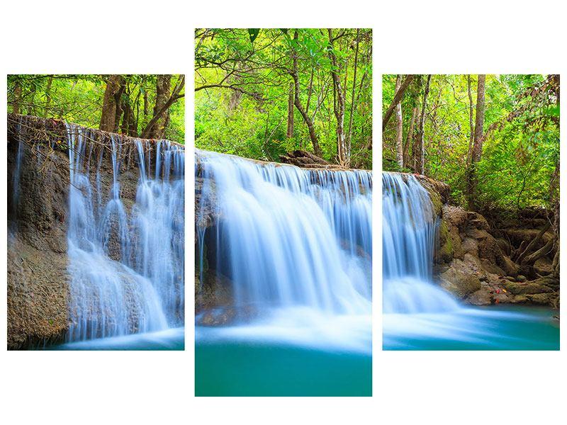 Metallic-Bild 3-teilig modern Wasserfall Si Nakharin