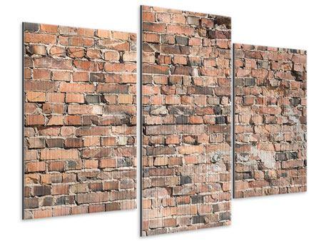 Metallic-Bild 3-teilig modern Alte Backsteinmauer