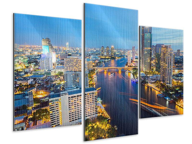 Metallic-Bild 3-teilig modern Skyline Bangkok bei Sonnenuntergang