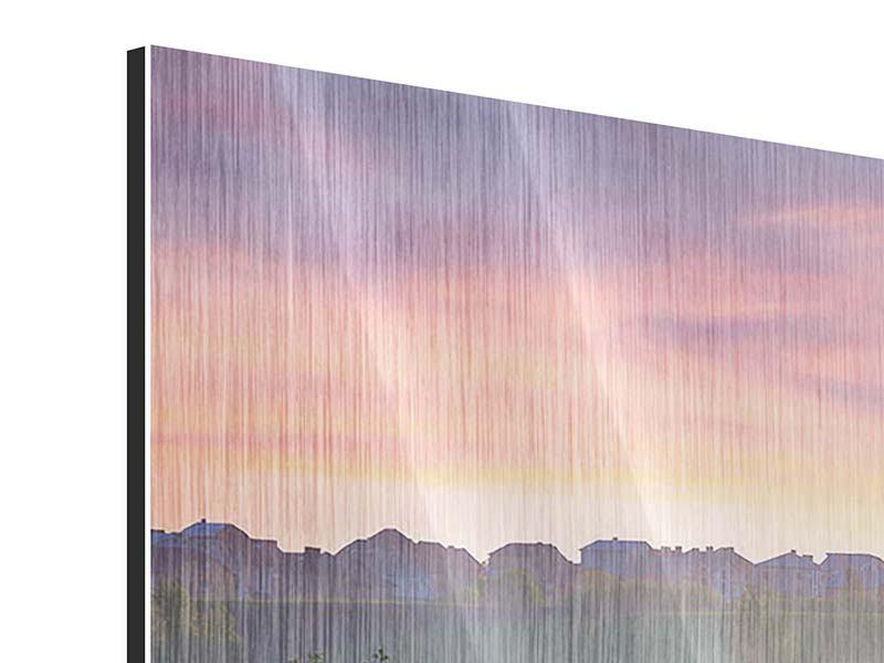 Metallic-Bild 3-teilig modern Sonnenuntergang am Hügel