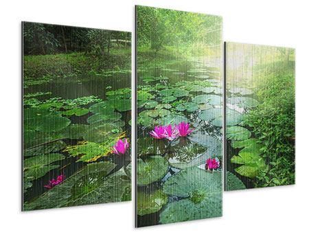 Metallic-Bild 3-teilig modern Gartenteich