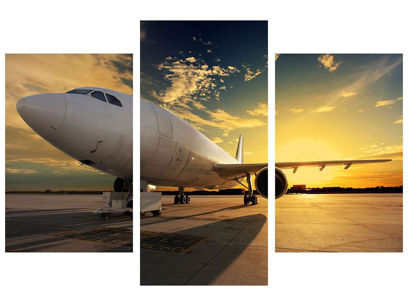 Metallic-Bild 3-teilig modern Jet